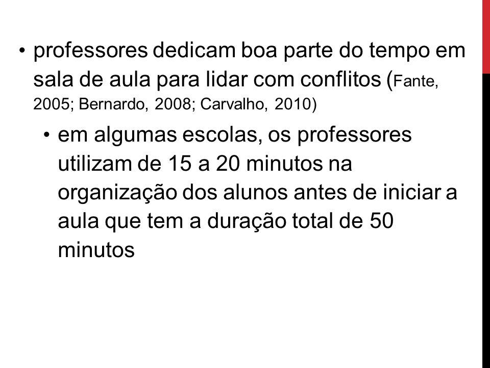 professores dedicam boa parte do tempo em sala de aula para lidar com conflitos ( Fante, 2005; Bernardo, 2008; Carvalho, 2010) em algumas escolas, os