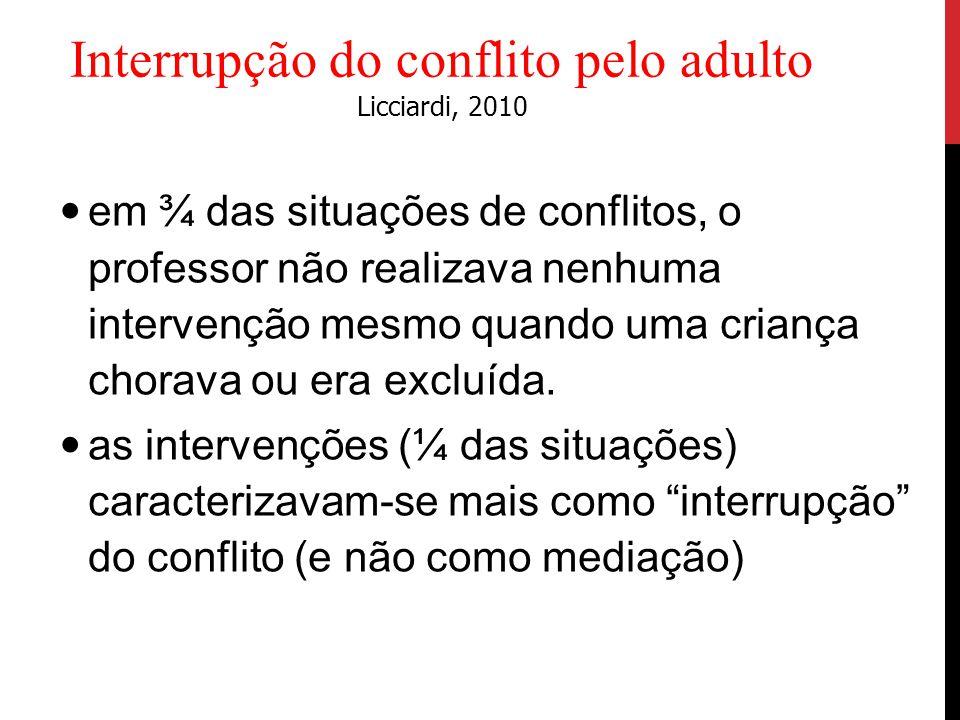 em ¾ das situações de conflitos, o professor não realizava nenhuma intervenção mesmo quando uma criança chorava ou era excluída. as intervenções (¼ da