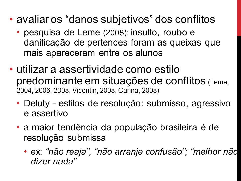 avaliar os danos subjetivos dos conflitos pesquisa de Leme (2008): insulto, roubo e danificação de pertences foram as queixas que mais apareceram entr