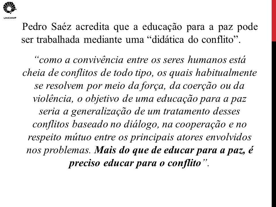Pedro Saéz acredita que a educação para a paz pode ser trabalhada mediante uma didática do conflito. como a convivência entre os seres humanos está ch