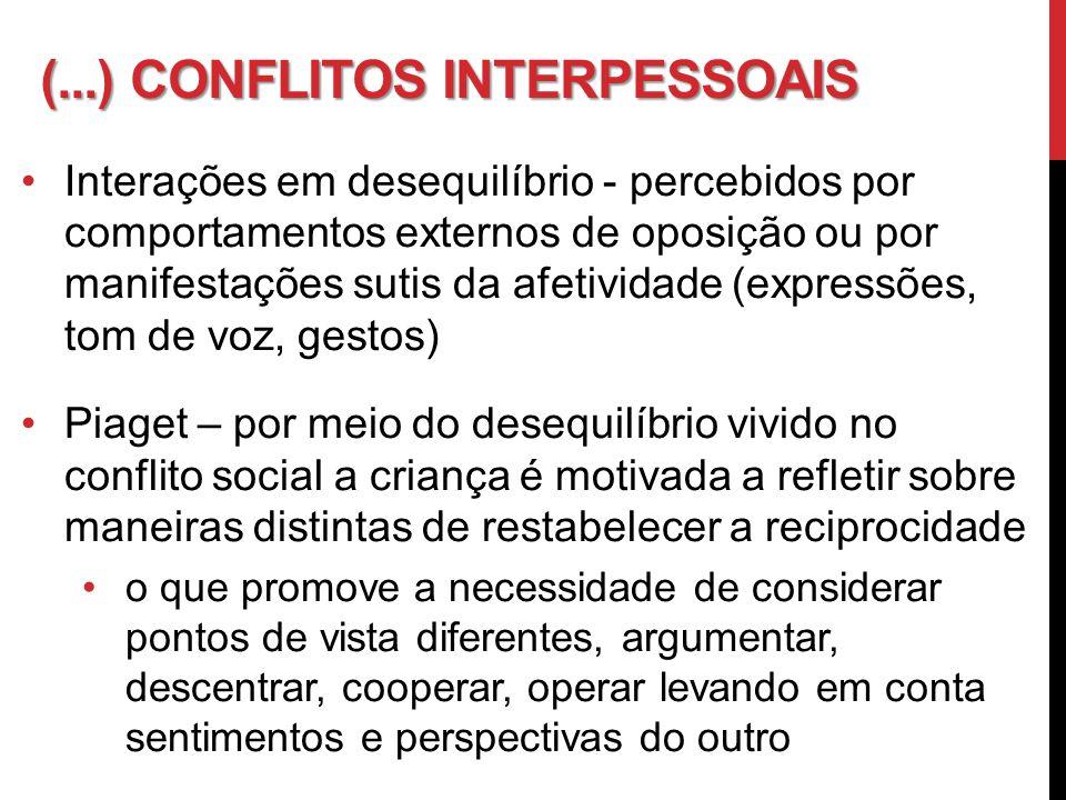 (...) CONFLITOS INTERPESSOAIS Interações em desequilíbrio - percebidos por comportamentos externos de oposição ou por manifestações sutis da afetivida