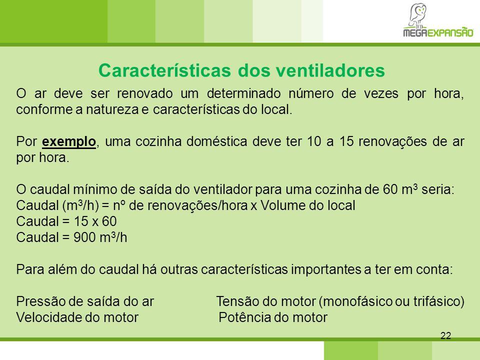 22 Características dos ventiladores O ar deve ser renovado um determinado número de vezes por hora, conforme a natureza e características do local. Po