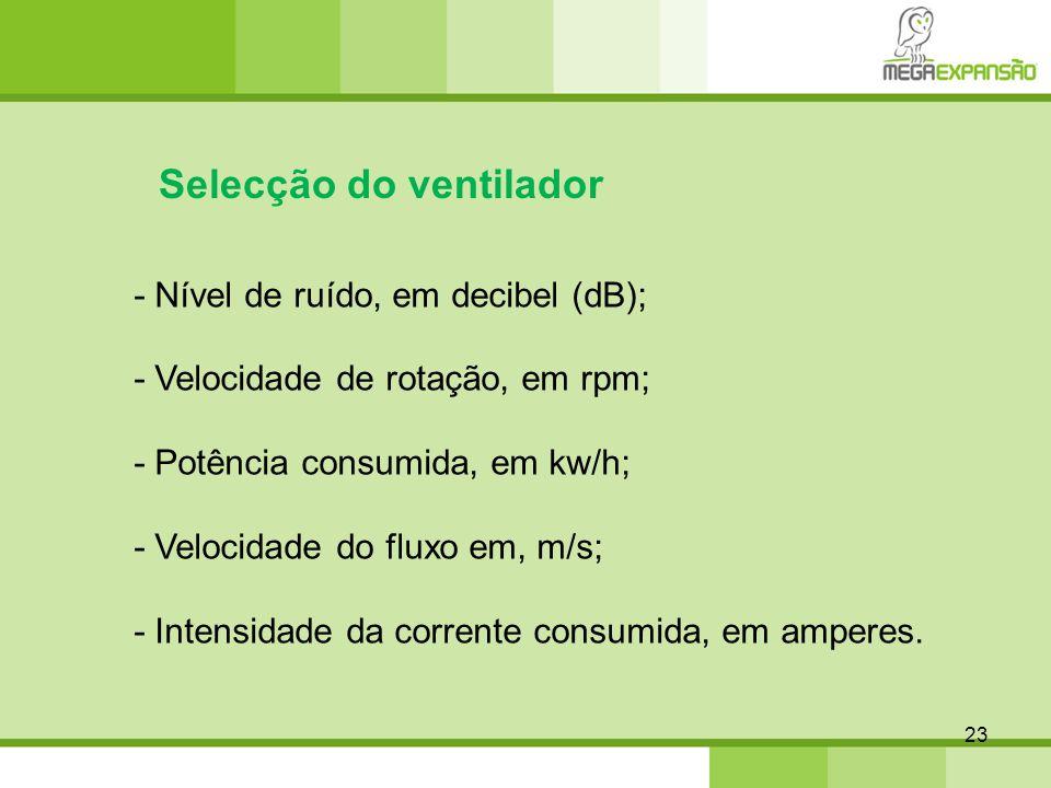 23 Selecção do ventilador - Nível de ruído, em decibel (dB); - Velocidade de rotação, em rpm; - Potência consumida, em kw/h; - Velocidade do fluxo em,