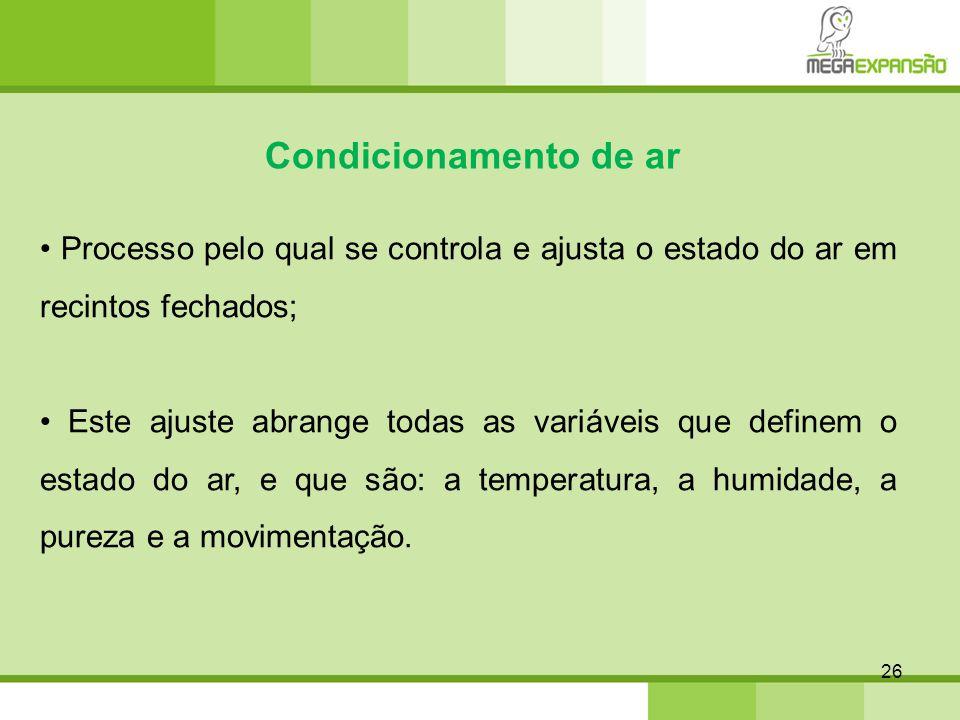 26 Condicionamento de ar Processo pelo qual se controla e ajusta o estado do ar em recintos fechados; Este ajuste abrange todas as variáveis que defin