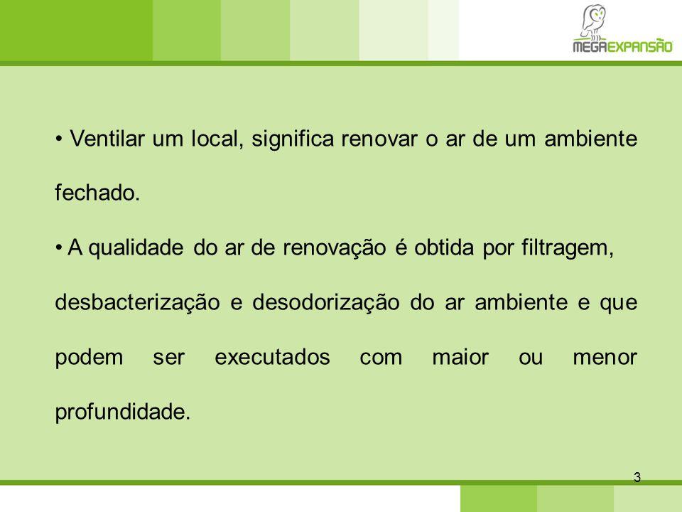 3 Ventilar um local, significa renovar o ar de um ambiente fechado. A qualidade do ar de renovação é obtida por filtragem, desbacterização e desodoriz