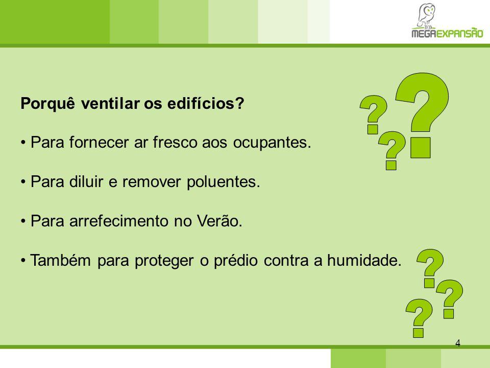 4 Porquê ventilar os edifícios? Para fornecer ar fresco aos ocupantes. Para diluir e remover poluentes. Para arrefecimento no Verão. Também para prote