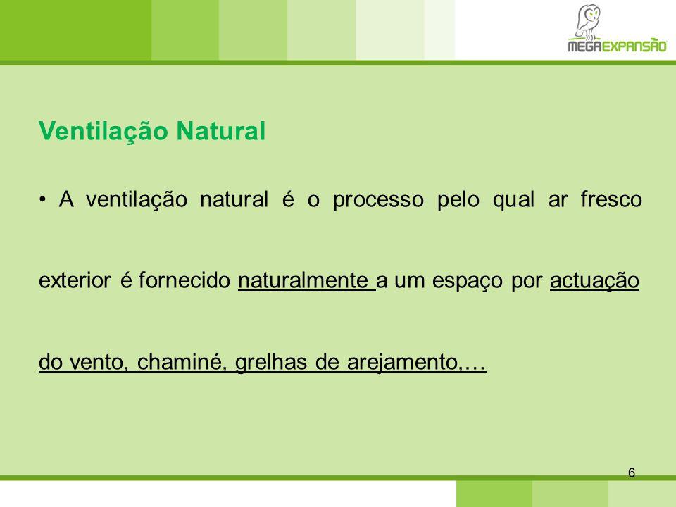 6 Ventilação Natural A ventilação natural é o processo pelo qual ar fresco exterior é fornecido naturalmente a um espaço por actuação do vento, chamin