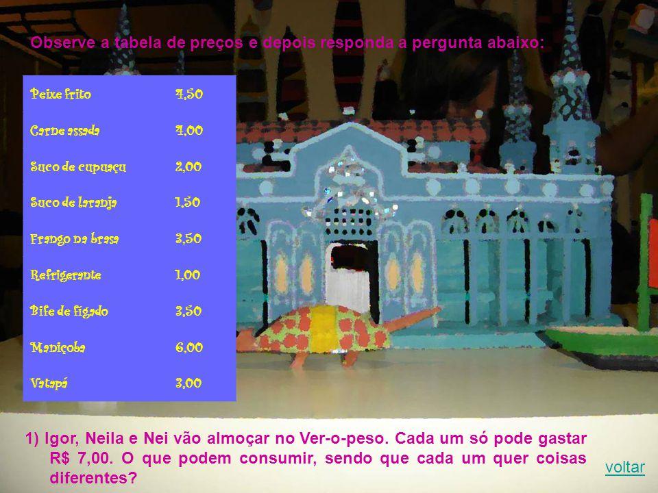 Observe a tabela de preços e depois responda a pergunta abaixo: Peixe frito4,50 Carne assada4,00 Suco de cupuaçu2,00 Suco de laranja1,50 Frango na brasa3,50 Refrigerante1,00 Bife de fígado3,50 Maniçoba6,00 Vatapá3,00 1) Igor, Neila e Nei vão almoçar no Ver-o-peso.