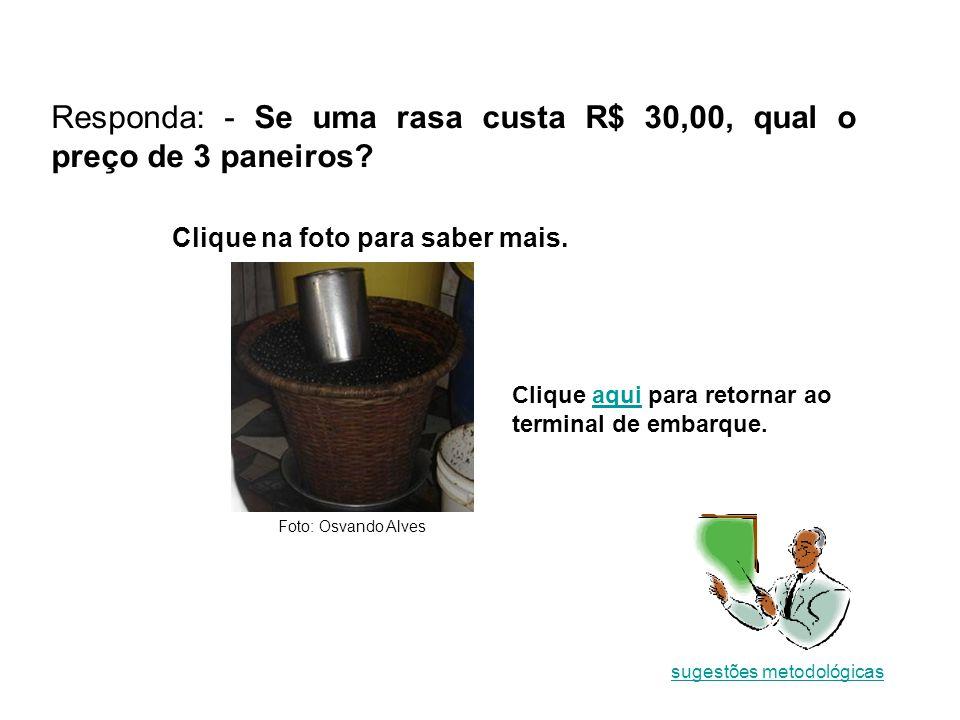 Responda: - Se uma rasa custa R$ 30,00, qual o preço de 3 paneiros.