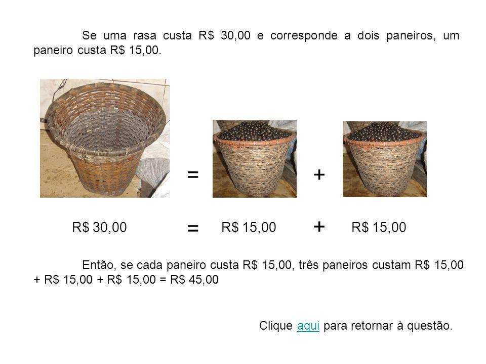 Se uma rasa custa R$ 30,00 e corresponde a dois paneiros, um paneiro custa R$ 15,00. =+ R$ 30,00R$ 15,00 = + Então, se cada paneiro custa R$ 15,00, tr