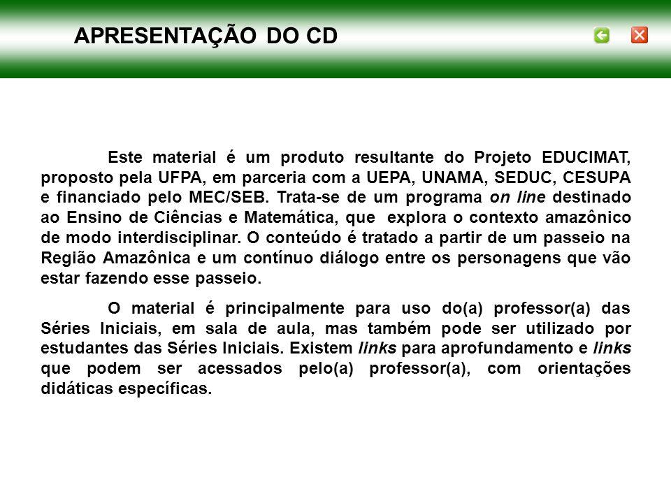 Este material é um produto resultante do Projeto EDUCIMAT, proposto pela UFPA, em parceria com a UEPA, UNAMA, SEDUC, CESUPA e financiado pelo MEC/SEB.