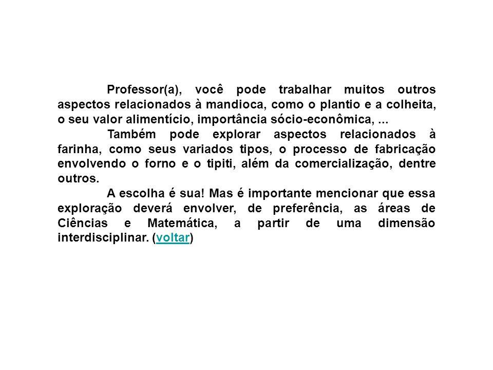 Professor(a), você pode trabalhar muitos outros aspectos relacionados à mandioca, como o plantio e a colheita, o seu valor alimentício, importância só