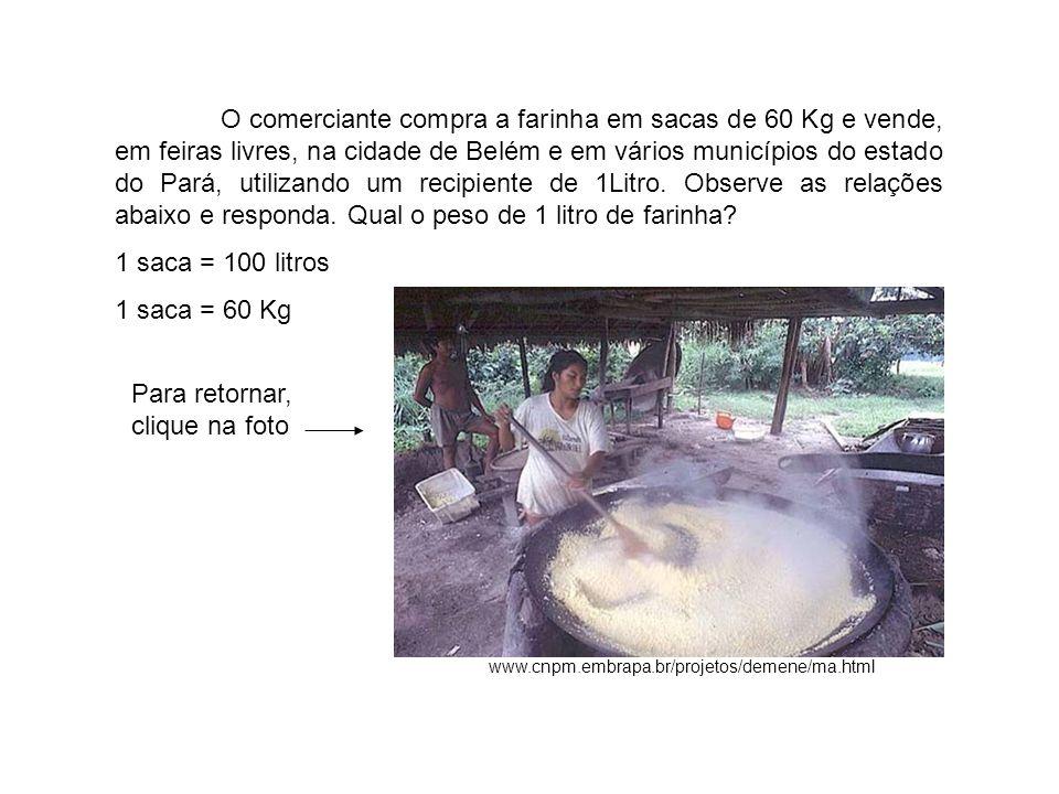 www.cnpm.embrapa.br/projetos/demene/ma.html O comerciante compra a farinha em sacas de 60 Kg e vende, em feiras livres, na cidade de Belém e em vários municípios do estado do Pará, utilizando um recipiente de 1Litro.