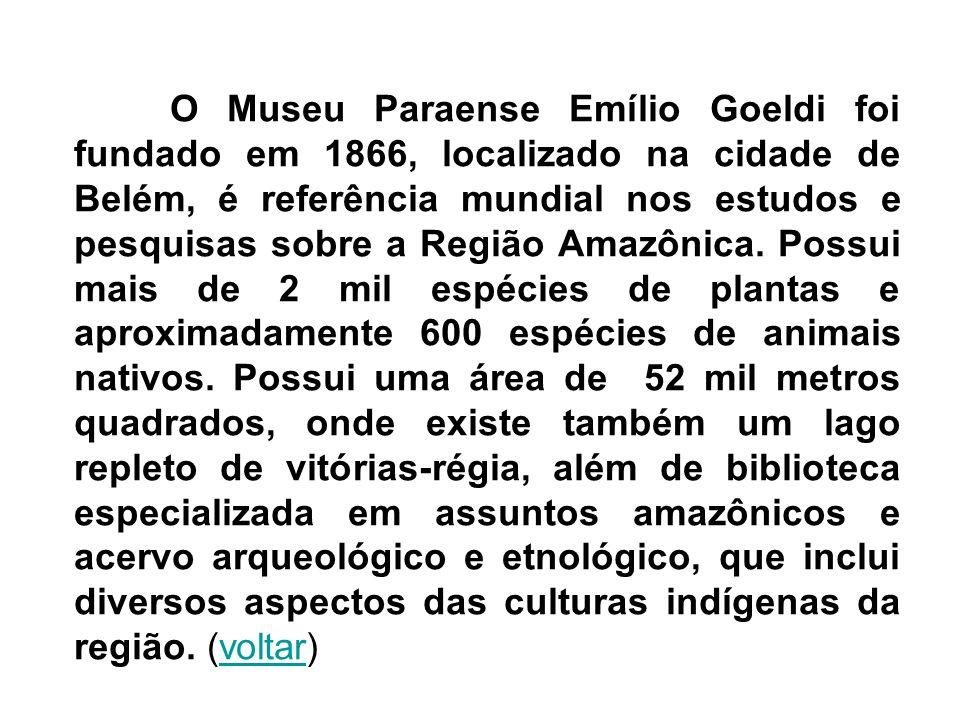 O Museu Paraense Emílio Goeldi foi fundado em 1866, localizado na cidade de Belém, é referência mundial nos estudos e pesquisas sobre a Região Amazôni