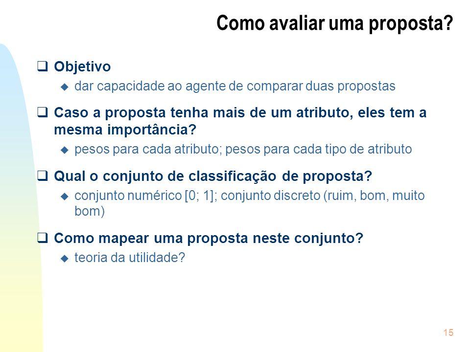 15 Como avaliar uma proposta? Objetivo u dar capacidade ao agente de comparar duas propostas Caso a proposta tenha mais de um atributo, eles tem a mes