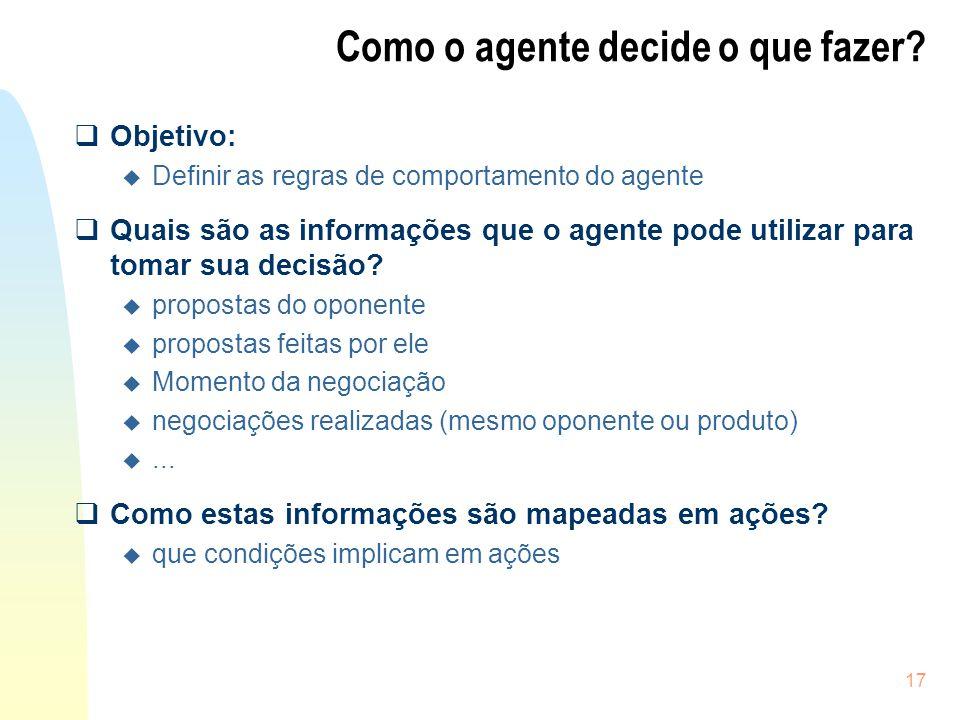 17 Como o agente decide o que fazer? Objetivo: u Definir as regras de comportamento do agente Quais são as informações que o agente pode utilizar para