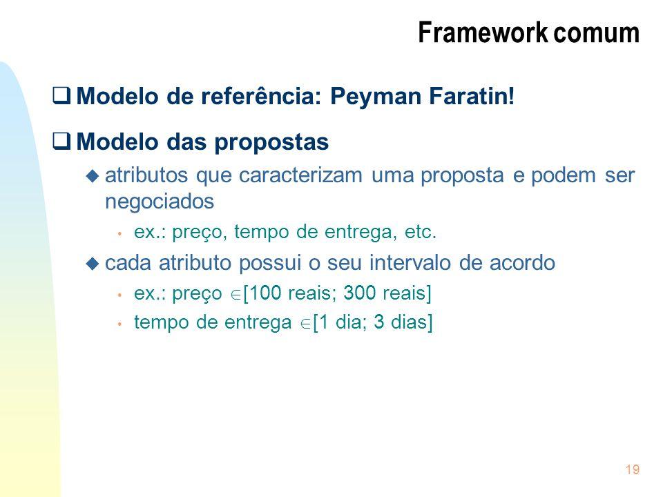 19 Framework comum Modelo de referência: Peyman Faratin! Modelo das propostas u atributos que caracterizam uma proposta e podem ser negociados ex.: pr