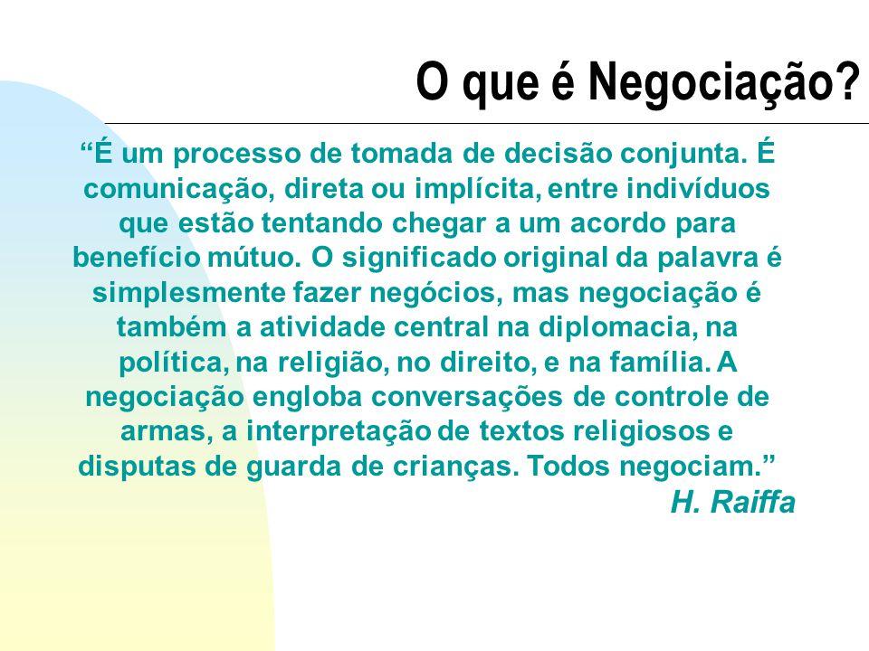 É um processo de tomada de decisão conjunta. É comunicação, direta ou implícita, entre indivíduos que estão tentando chegar a um acordo para benefício