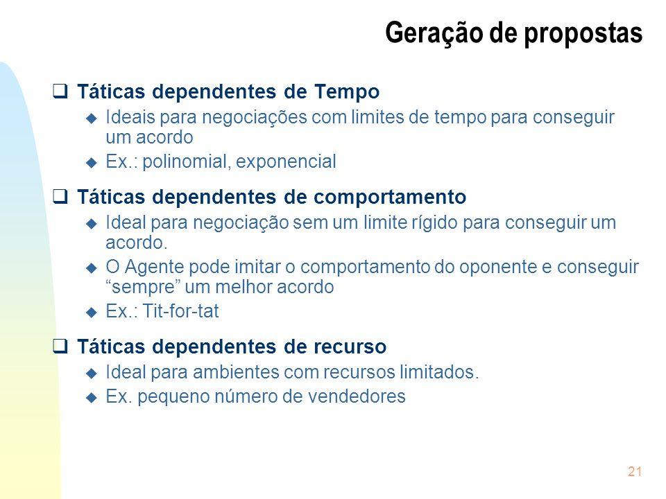 21 Geração de propostas Táticas dependentes de Tempo u Ideais para negociações com limites de tempo para conseguir um acordo u Ex.: polinomial, expone