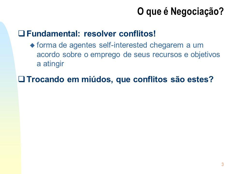 3 Fundamental: resolver conflitos! u forma de agentes self-interested chegarem a um acordo sobre o emprego de seus recursos e objetivos a atingir Troc