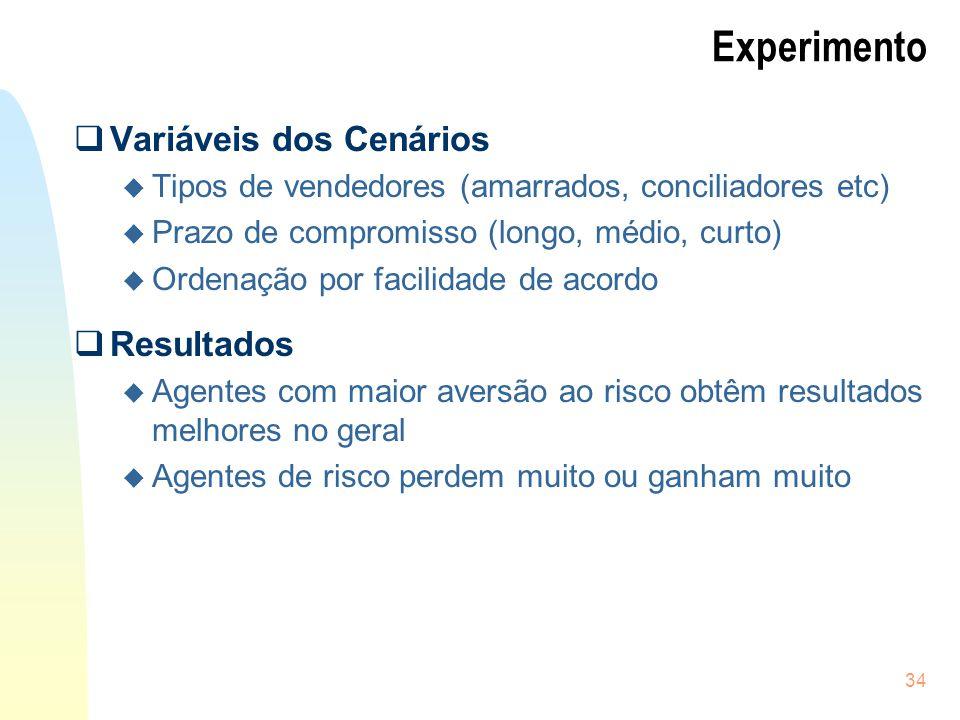 34 Experimento Variáveis dos Cenários u Tipos de vendedores (amarrados, conciliadores etc) u Prazo de compromisso (longo, médio, curto) u Ordenação po