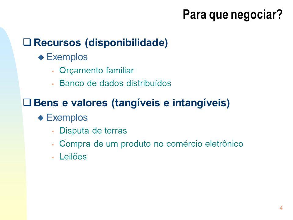 4 Para que negociar? Recursos (disponibilidade) u Exemplos Orçamento familiar Banco de dados distribuídos Bens e valores (tangíveis e intangíveis) u E