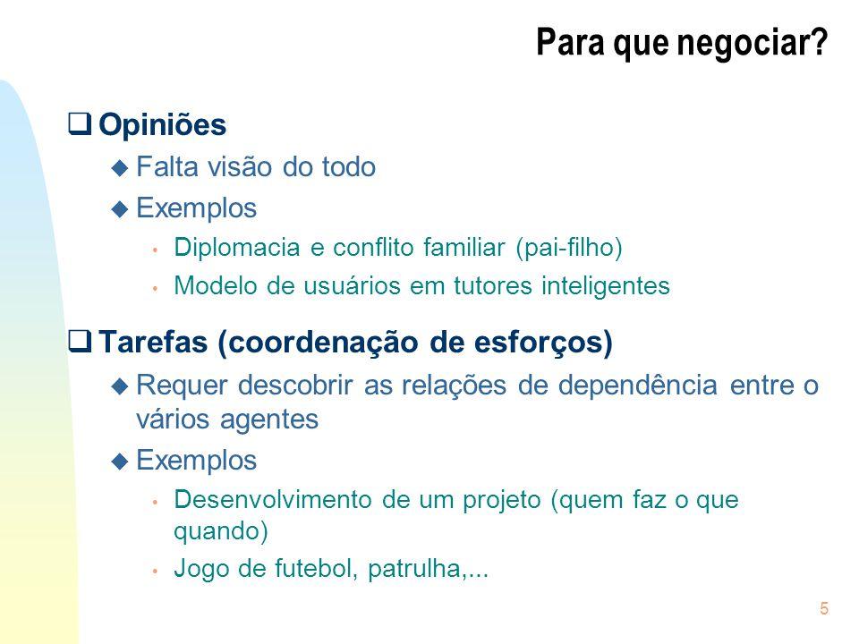 5 Para que negociar? Opiniões u Falta visão do todo u Exemplos Diplomacia e conflito familiar (pai-filho) Modelo de usuários em tutores inteligentes T