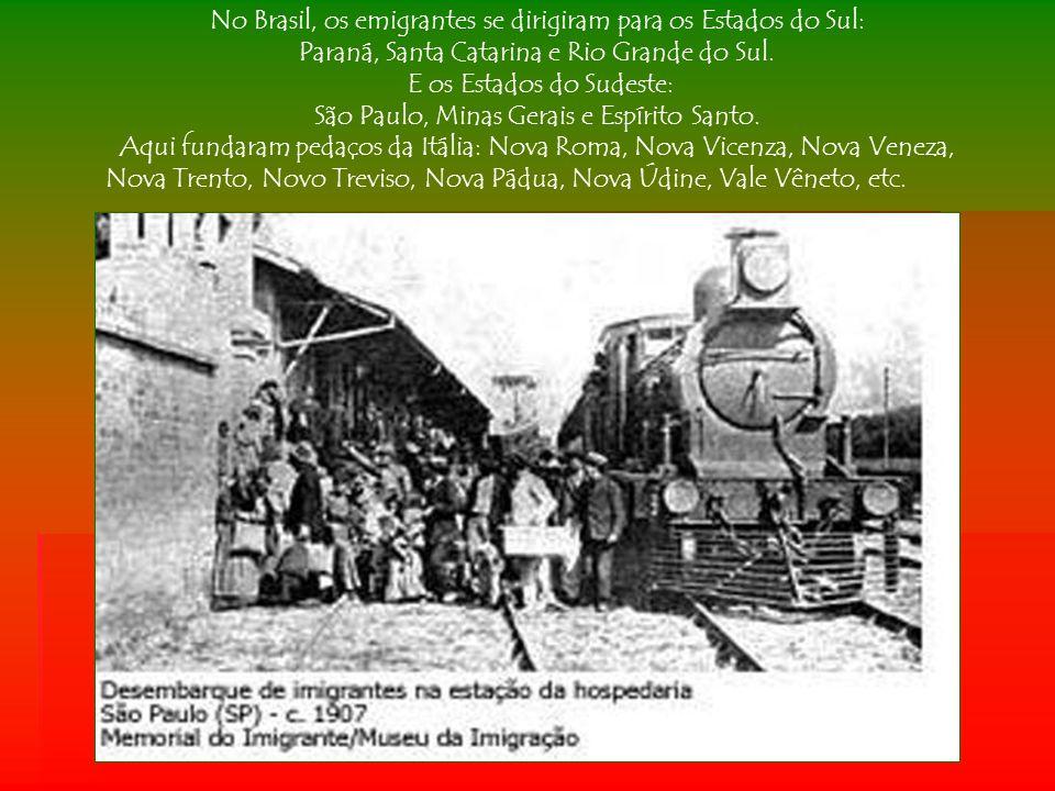 A primeira leva de imigrantes italianos vinda ao Brasil, aconteceu em 1874, porém a imigração só foi oficializada, em 1875.