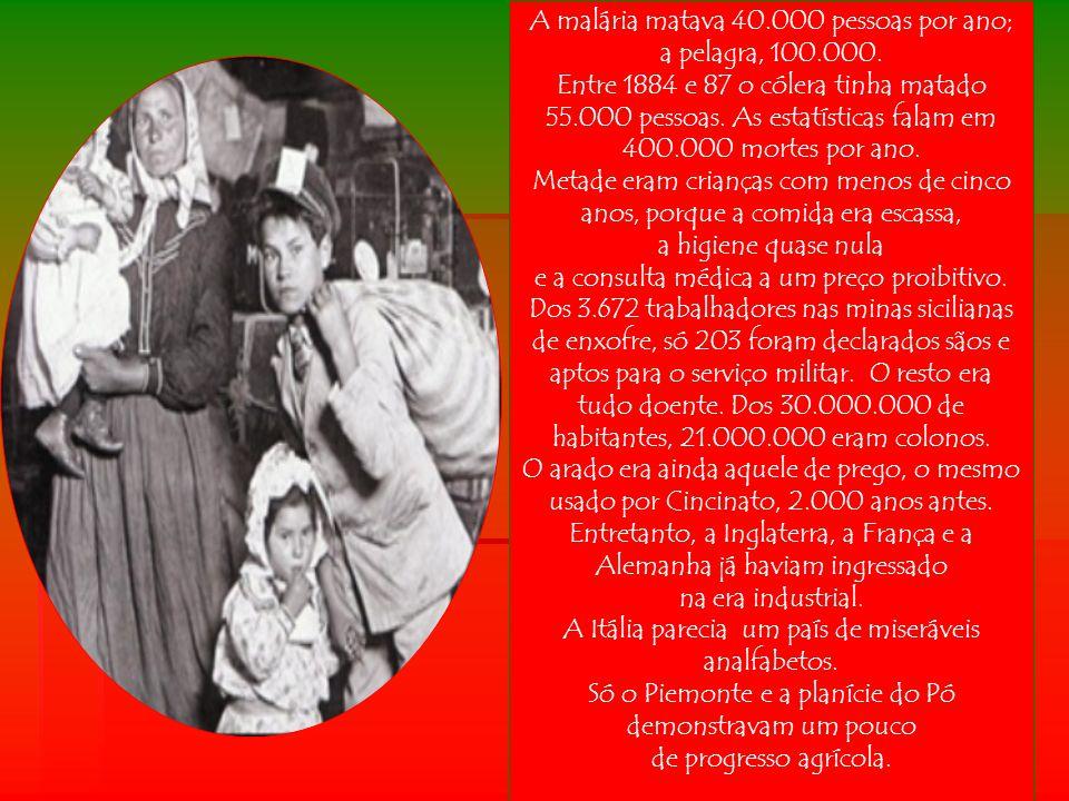 Os emigrantes italianos, com sua saída, permitiram o progresso da Itália, diminuindo a população e fazendo sobrar alimento para os que ficaram.