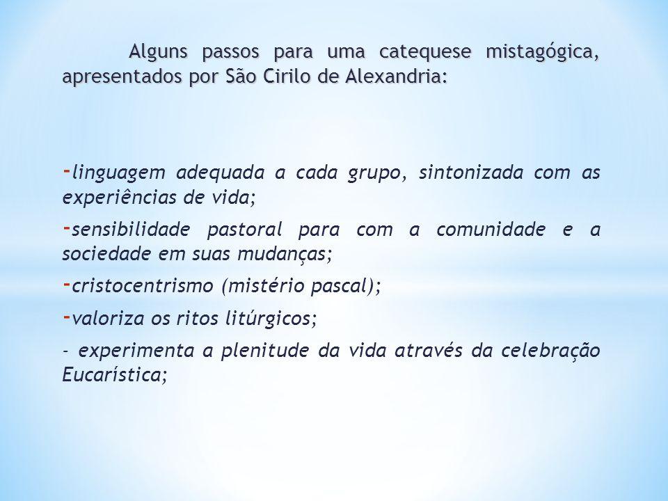 Alguns passos para uma catequese mistagógica, apresentados por São Cirilo de Alexandria: - linguagem adequada a cada grupo, sintonizada com as experiê