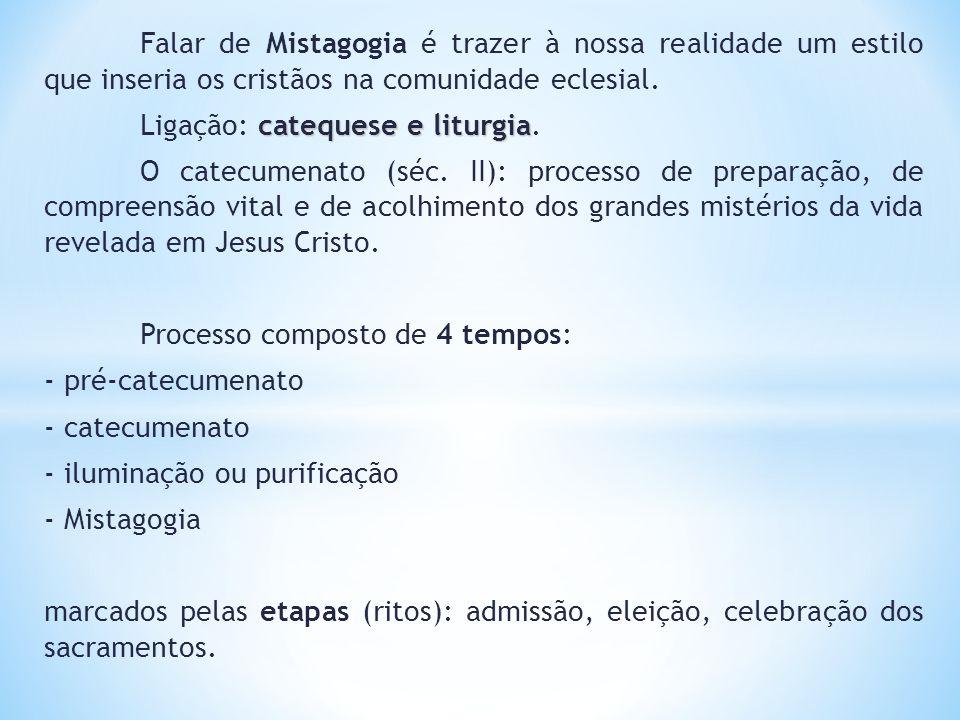 Falar de Mistagogia é trazer à nossa realidade um estilo que inseria os cristãos na comunidade eclesial. catequese e liturgia Ligação: catequese e lit