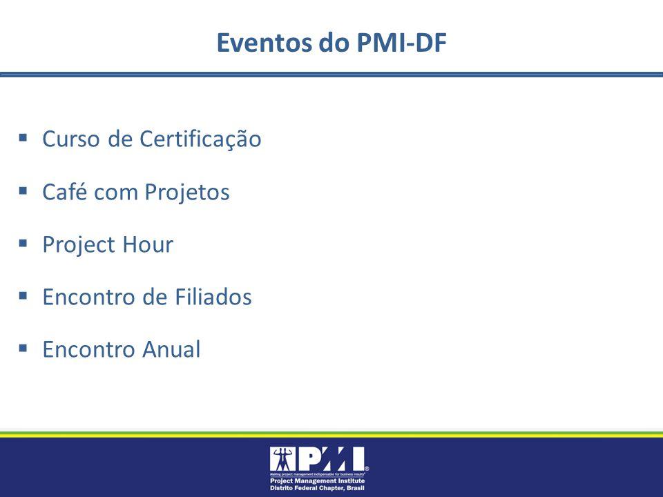 Eventos do PMI-DF Curso de Certificação Café com Projetos Project Hour Encontro de Filiados Encontro Anual