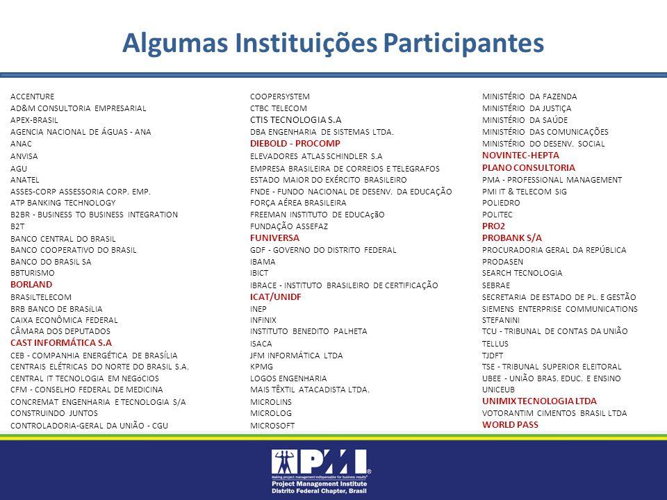 Algumas Instituições Participantes ACCENTURECOOPERSYSTEMMINISTÉRIO DA FAZENDA AD&M CONSULTORIA EMPRESARIALCTBC TELECOMMINISTÉRIO DA JUSTIÇA APEX-BRASIL CTIS TECNOLOGIA S.A MINISTÉRIO DA SAÚDE AGENCIA NACIONAL DE ÁGUAS - ANADBA ENGENHARIA DE SISTEMAS LTDA.MINISTÉRIO DAS COMUNICAÇÕES ANAC DIEBOLD - PROCOMP MINISTÉRIO DO DESENV.