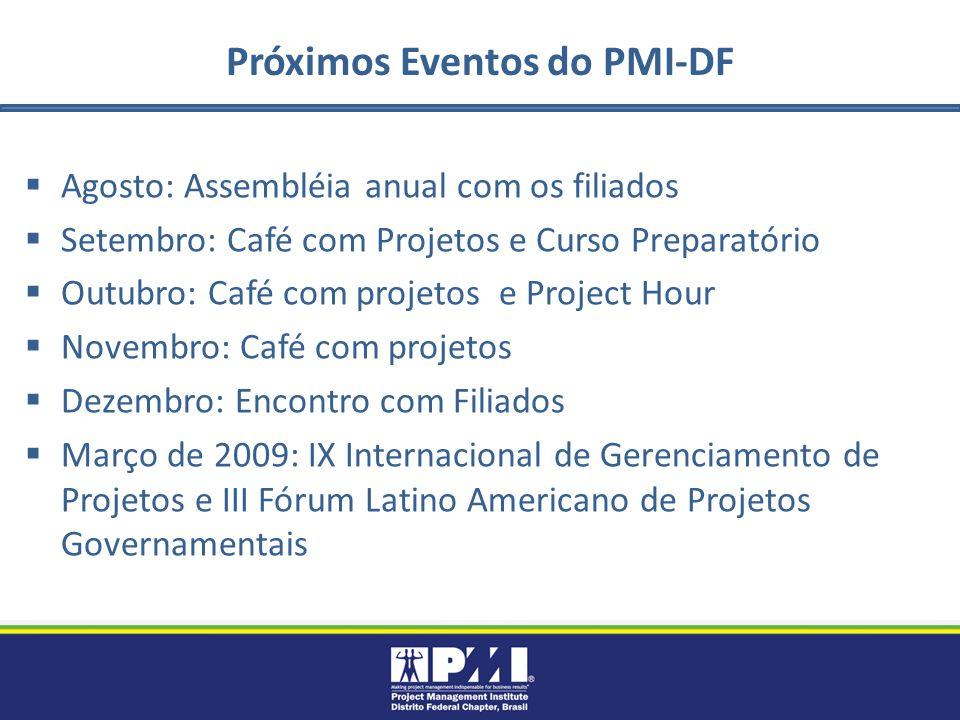 Próximos Eventos do PMI-DF Agosto: Assembléia anual com os filiados Setembro: Café com Projetos e Curso Preparatório Outubro: Café com projetos e Proj