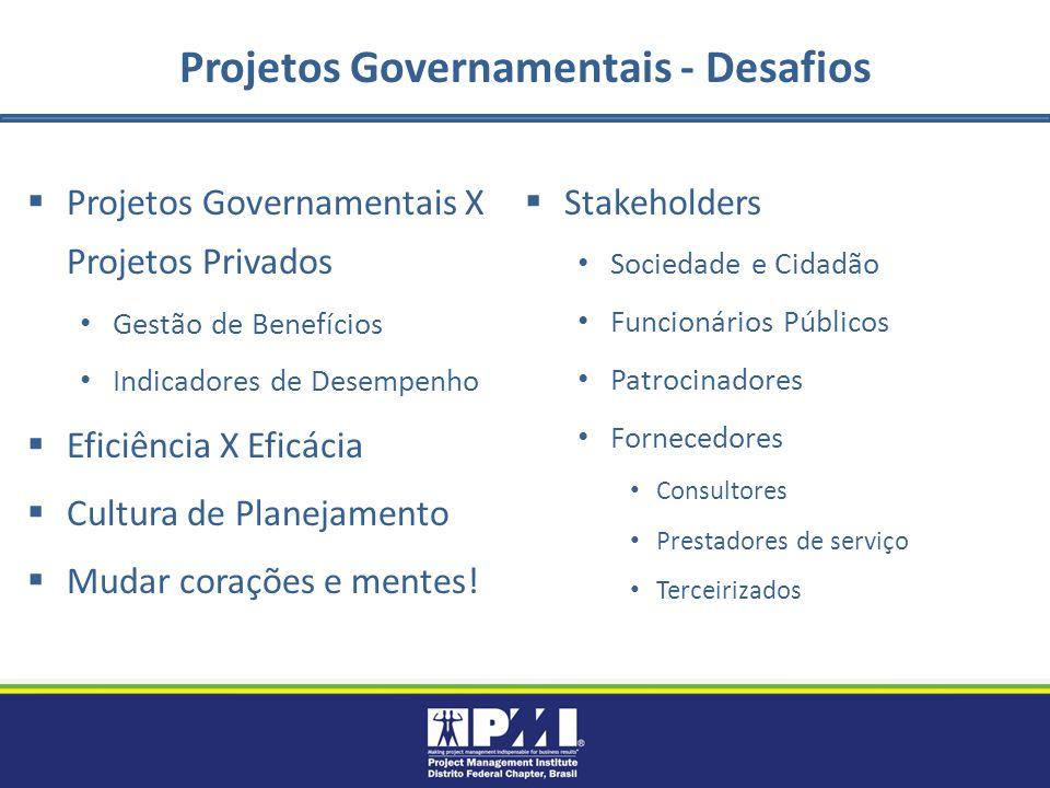 Projetos Governamentais - Desafios Projetos Governamentais X Projetos Privados Gestão de Benefícios Indicadores de Desempenho Eficiência X Eficácia Cultura de Planejamento Mudar corações e mentes.