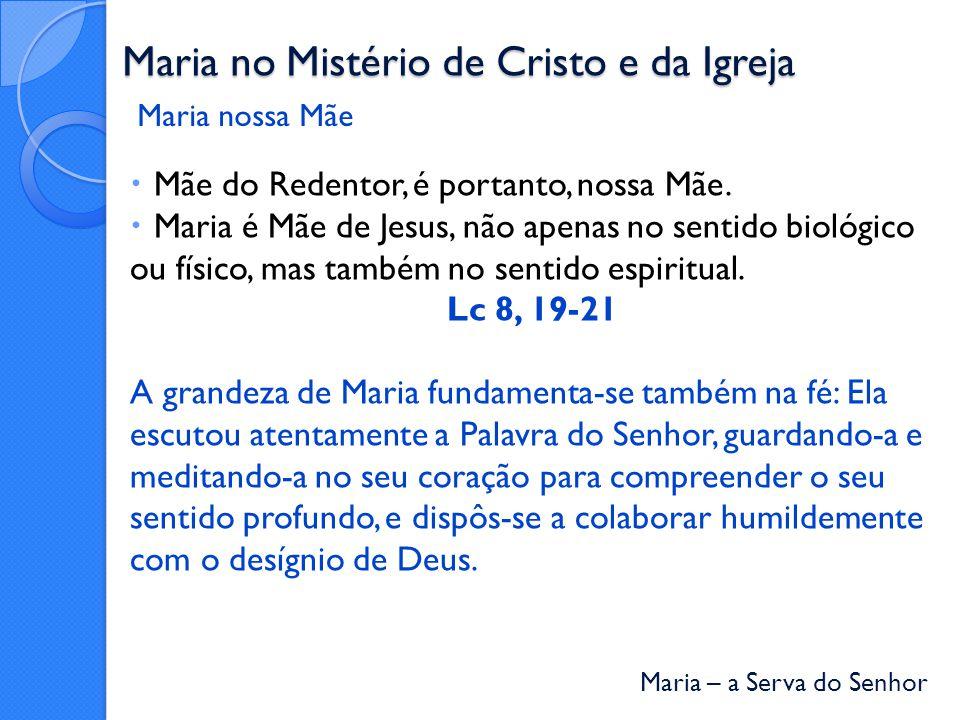 Maria – a Serva do Senhor Maria no Mistério de Cristo e da Igreja Mãe do Redentor, é portanto, nossa Mãe.