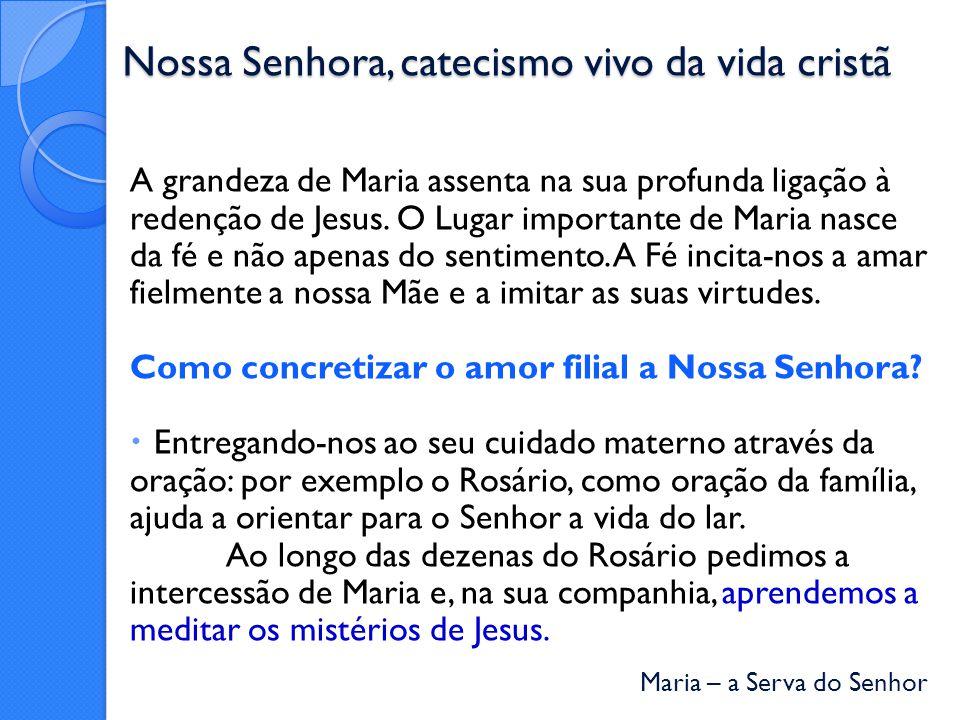 Maria – a Serva do Senhor Nossa Senhora, catecismo vivo da vida cristã A grandeza de Maria assenta na sua profunda ligação à redenção de Jesus.