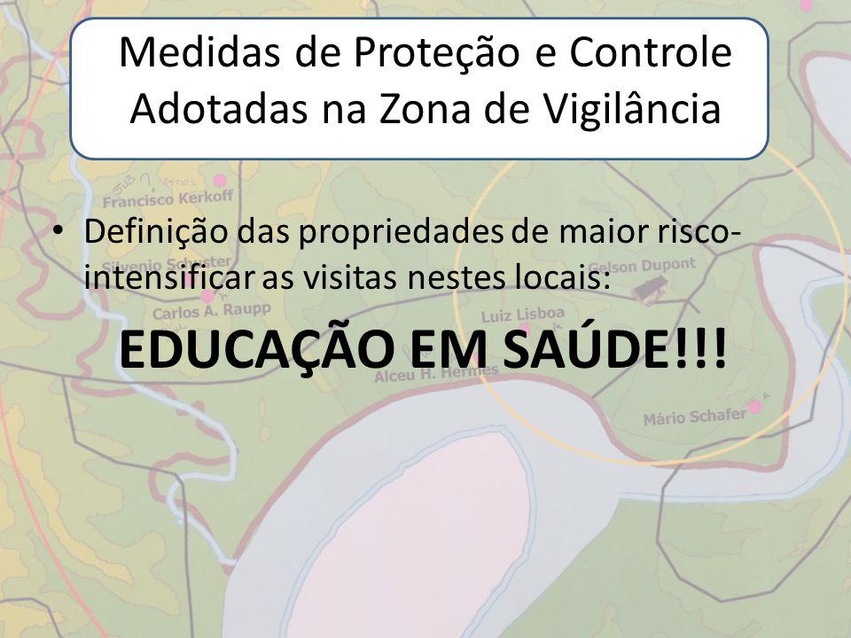 Medidas de Proteção e Controle Adotadas na Zona de Vigilância Definição das propriedades de maior risco- intensificar as visitas nestes locais: EDUCAÇ