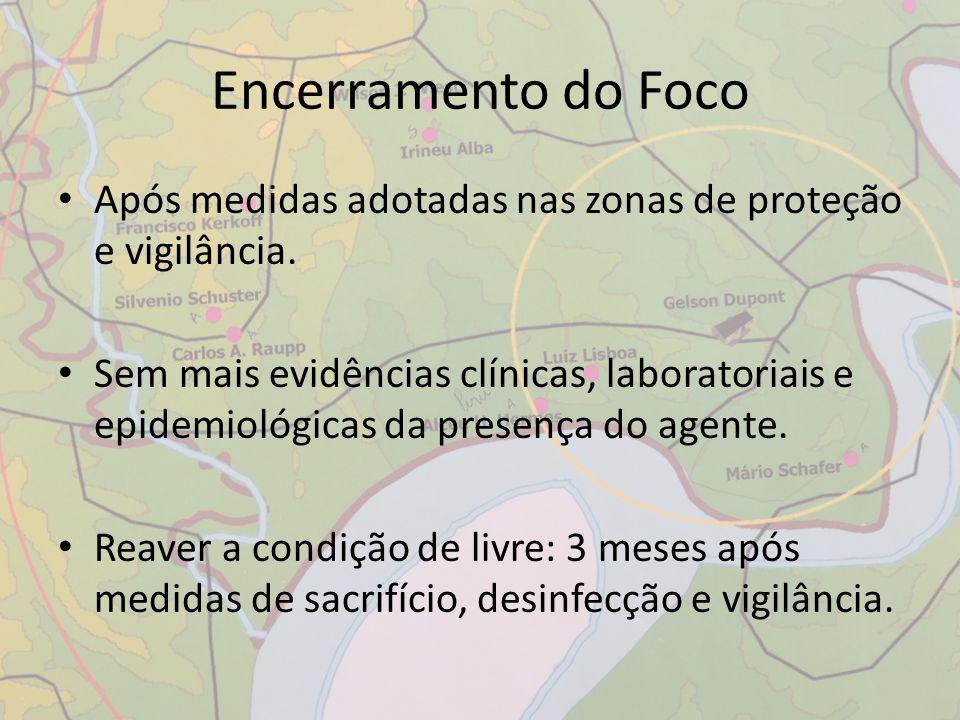 Após medidas adotadas nas zonas de proteção e vigilância. Sem mais evidências clínicas, laboratoriais e epidemiológicas da presença do agente. Reaver