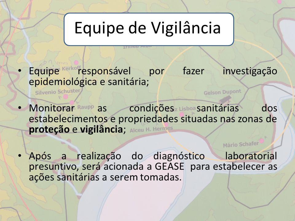 Equipe responsável por fazer investigação epidemiológica e sanitária; Monitorar as condições sanitárias dos estabelecimentos e propriedades situadas n