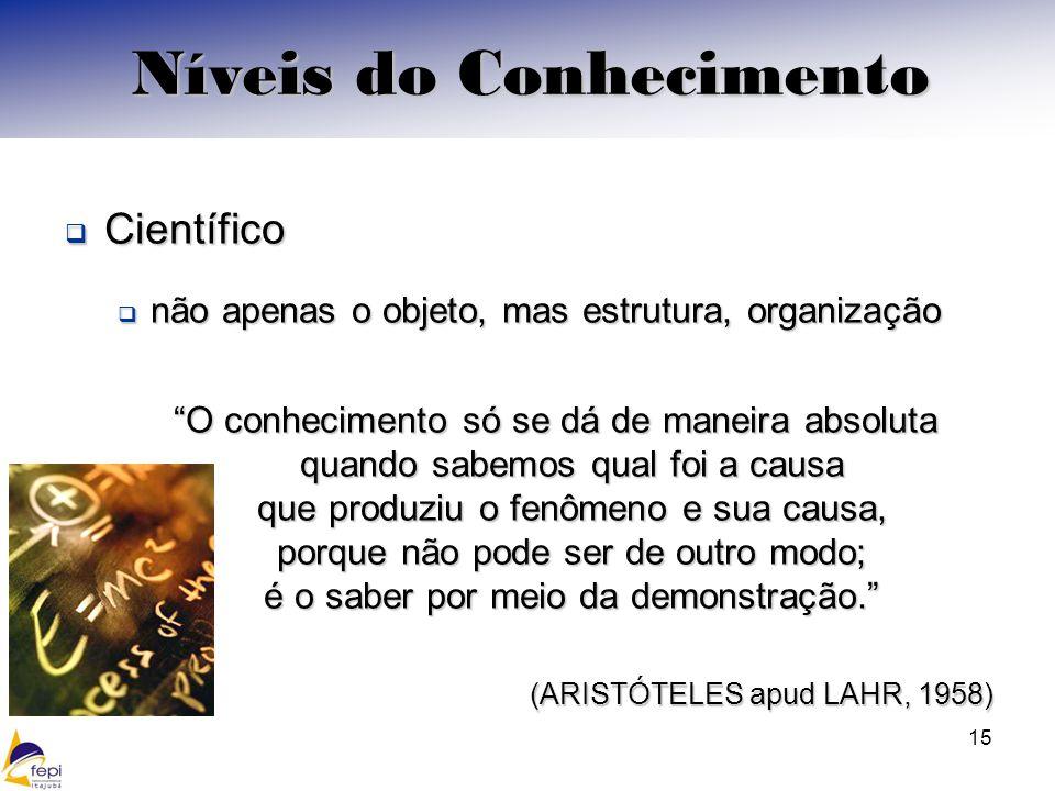Científico Científico não apenas o objeto, mas estrutura, organização não apenas o objeto, mas estrutura, organização O conhecimento só se dá de manei