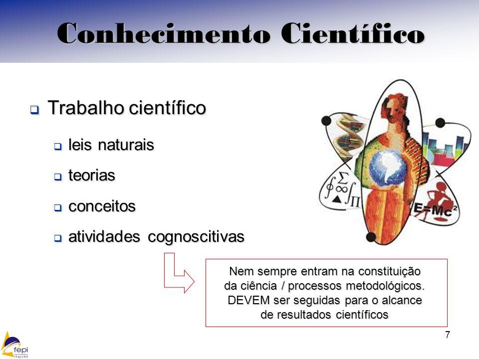 7 Conhecimento Científico Trabalho científico Trabalho científico leis naturais leis naturais teorias teorias conceitos conceitos atividades cognoscitivas atividades cognoscitivas Nem sempre entram na constituição da ciência / processos metodológicos.