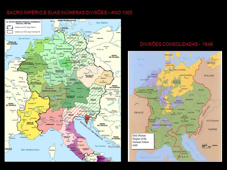 UNIFICAÇÃO DA ALEMANHA Durante o período do Sacro Império dois reinos se destacavam: a Áustria dominada pelos Habsburgos e a Prússia, reino que se expandiu no norte da Alemanha e em direção à Polônia e dominada pelos Hohenzollern.