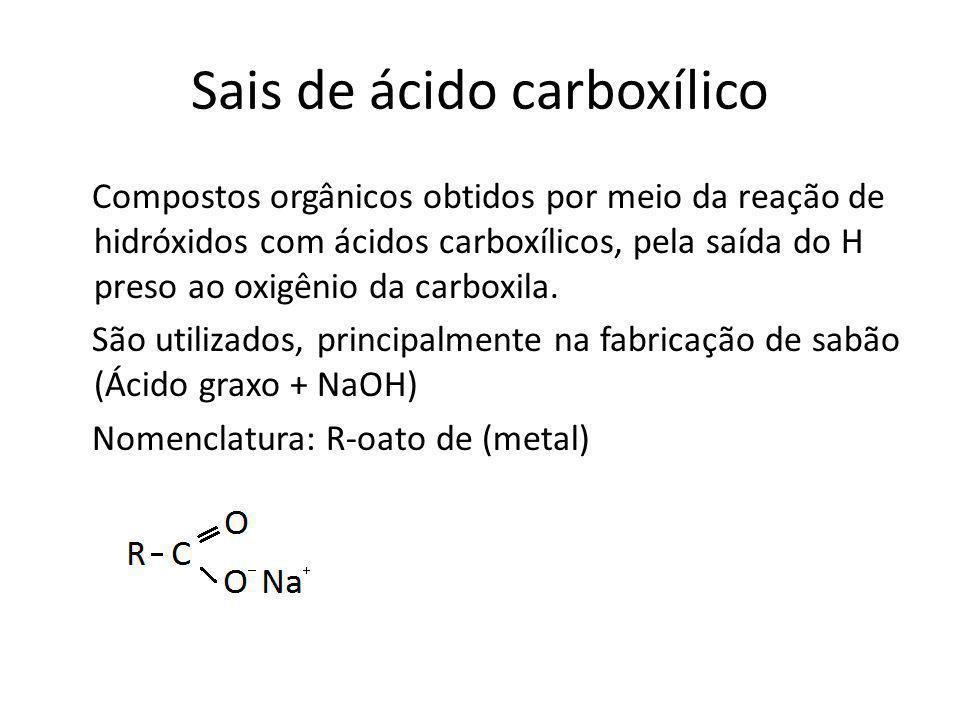 Sais de ácido carboxílico Compostos orgânicos obtidos por meio da reação de hidróxidos com ácidos carboxílicos, pela saída do H preso ao oxigênio da c