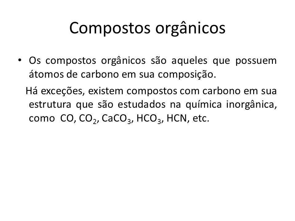 Compostos orgânicos Os compostos orgânicos são aqueles que possuem átomos de carbono em sua composição. Há exceções, existem compostos com carbono em