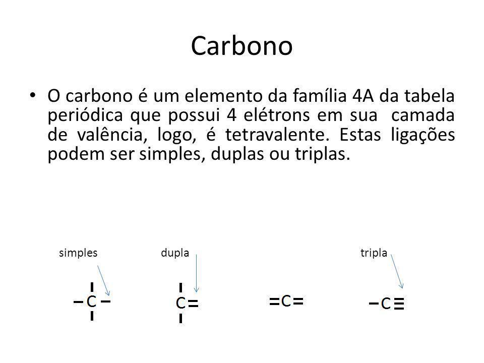 Carbono O carbono é um elemento da família 4A da tabela periódica que possui 4 elétrons em sua camada de valência, logo, é tetravalente. Estas ligaçõe