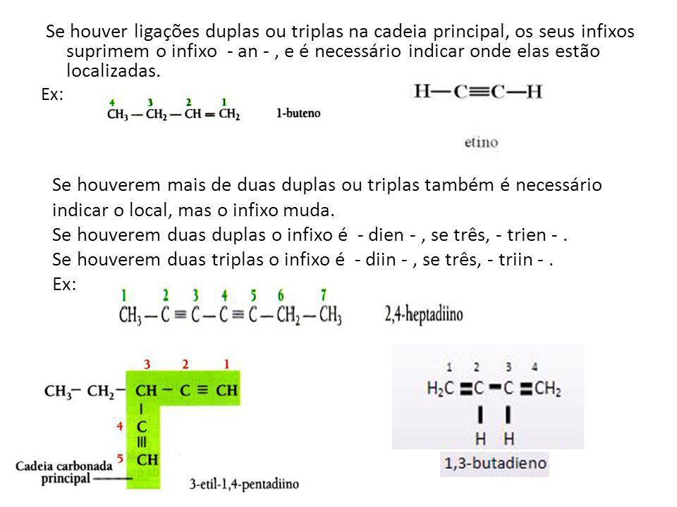 Se houver ligações duplas ou triplas na cadeia principal, os seus infixos suprimem o infixo - an -, e é necessário indicar onde elas estão localizadas