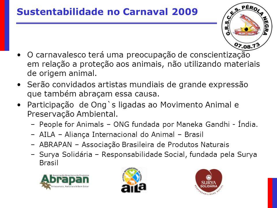 Sustentabilidade no Carnaval 2009 O carnavalesco terá uma preocupação de conscientização em relação a proteção aos animais, não utilizando materiais d