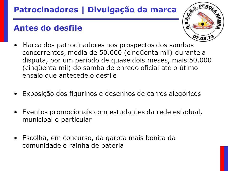 Patrocinadores | Divulgação da marca Antes do desfile Marca dos patrocinadores nos prospectos dos sambas concorrentes, média de 50.000 (cinqüenta mil)