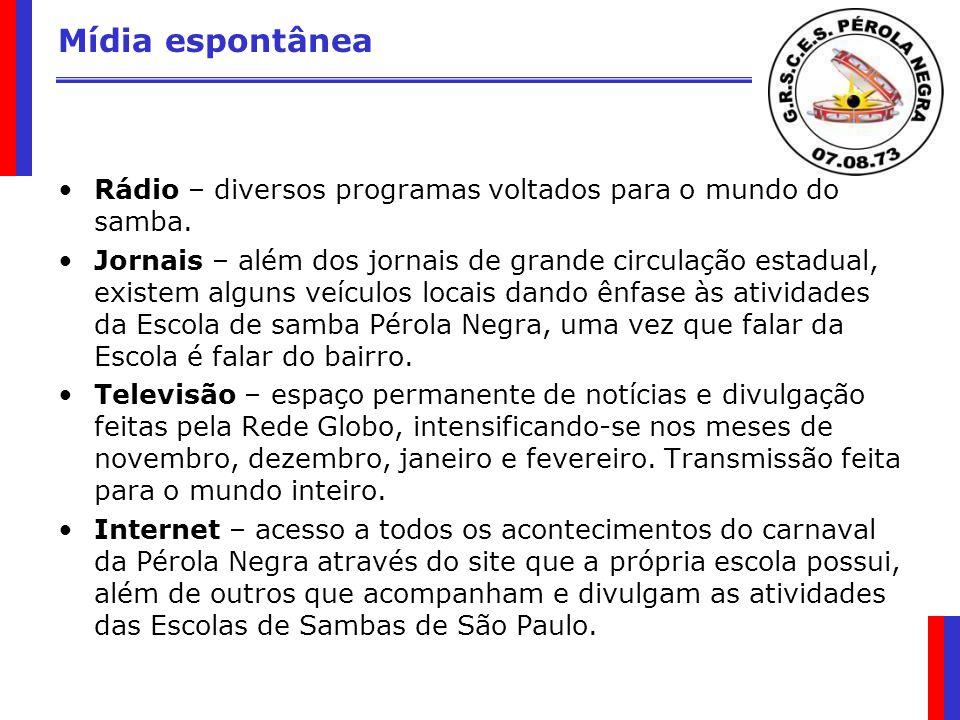 Mídia espontânea Rádio – diversos programas voltados para o mundo do samba. Jornais – além dos jornais de grande circulação estadual, existem alguns v